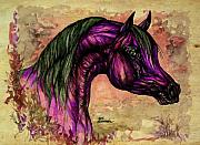Wild Horse Drawings Posters - Psychedelic Purple Poster by Angel  Tarantella