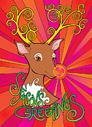 Rudolph Digital Art Prints - Psychedelic Rudolph Print by Steven Stines