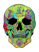 Scull Framed Prints Framed Prints - Psychedelic Scull Framed Print by Mauro Celotti