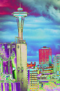 Psychedelic Photo Prints - Psychedelic Seattle Print by Richard Henne