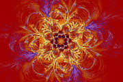 Psychedelic Spiral Vortex Red Orange And Blue Fractal Flame Print by Keith Webber Jr