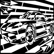 Sports Figure Drawings Posters - Psychedelic Sports Car Maze  Poster by Yonatan Frimer Maze Artist