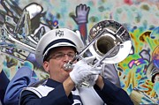 Psu Posters - Psychedelic Trombone Player Poster by Gallery Three