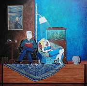 John Lyes Originals - Psychiatrist Sitting in Chair Studying Spiders Reaction by John Lyes