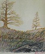 Autumn Landscape Drawings - Psychic Landscape by Michael Anthony Edwards