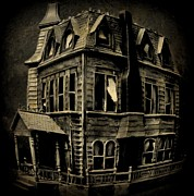 Haunted Houses Framed Prints - Psycho Mansion Framed Print by John Malone