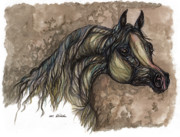 Horse Drawings - Psychodelic Grey horse original painting by Angel  Tarantella