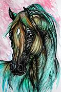 Wild Horse Posters - Psychodelic Pink And Green Poster by Angel  Tarantella