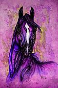 Wild Horses Drawings Metal Prints - Psychodelic Purple Horse Metal Print by Angel  Tarantella