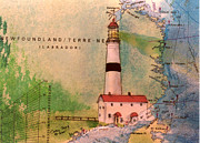 East Coast Lighthouse Paintings - Pt Amour Lighthouse Newfoundland Chart Map Art Cathy Peek by Cathy Peek