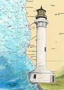 Arena Paintings - Pt Arena Lighthouse CA Nautical Chart Map Art Cathy Peek by Cathy Peek