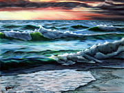 Eve Originals - Pt. Betsie Waves at Sunset by Julie Pflanzer