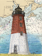 New England Lighthouse Paintings - Pt Judith Lighthouse RI Nautical Chart Map Art by Cathy Peek