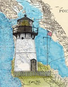 San Francisco Bay Painting Framed Prints - Pt Montara Lighthouse CA Nautical Chart Map Art Cathy Peek Framed Print by Cathy Peek