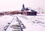 Railroad Snow Paintings - Pt. of Rocks Depot by Tom Wooldridge