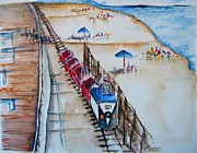 Jersey Shore Painting Originals - Pt Pleasant NJ Sand Train by Elaine Duras