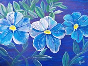 Judy Via-wolff Art - Ptg. Blue Million Bells by Judy Via-Wolff