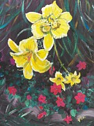 Edge Paintings - Ptg. Day Lillies and Impatients by Judy Via-Wolff