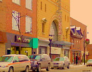 Bistro Paintings - Pub Burgundy Lion In Winter And Corona Theatre Notre Dame Ouest Montreal City Scene Carole Spandau by Carole Spandau