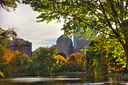 Autumn In New England Prints - Public Garden Skyline Print by Joann Vitali