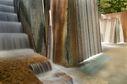 Long Exposure Waterflow Posters - Public Park Water Fountain with Stair Steps Poster by JPLDesigns
