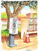 Post Cards Painting Originals - Public phone in the Rest Area near Camp Roberts - California by Carlos G Groppa