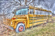 Broken Bus Framed Prints - Public School Transportation Framed Print by Dan Stone