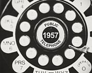 Mad Men Framed Prints - Public Telephone 1957 in Black and White Retro Framed Print by Lisa Russo