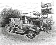 Ford Model T Car Drawings Posters - Pucketts Grocery and Restuarant Poster by Janet King