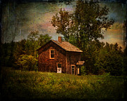 Abandoned Houses Digital Art Metal Prints - Pucky Huddle Farmhand House Metal Print by Pamela Phelps