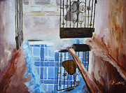 Rainy Street Painting Framed Prints - Puddle at the gate Framed Print by Ekaterina Mashkova