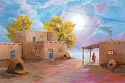 Fall Color Painting Posters - Pueblo de las Lunas Poster by Jerry McElroy