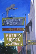 Greeting  Cards. Arizona Paintings - Pueblo Hotel by Katrina West