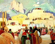 Ready To Frame Prints - Pueblo of Taos Print by Victor Higgins