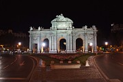 Neo-classical Posters - Puerta de Alcala at Night Poster by Jenny Hudson