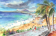 Canary Drawings Prints - Puerto Carmen Beach Print by Miki De Goodaboom