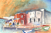 Canary Drawings Prints - Puerto Carmen Harbour 01 Print by Miki De Goodaboom
