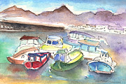Canary Drawings Prints - Puerto Carmen Harbour 02 Print by Miki De Goodaboom