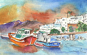 Canary Drawings Prints - Puerto Carmen Harbour 03 Print by Miki De Goodaboom