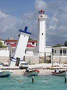 Leaning Building Prints - Puerto Morelos Lighthouse Print by Ellen Henneke