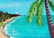 Ocean Shore Drawings Prints - Puerto Plata Beach  Print by Anastasiya Malakhova