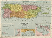 Puerto Rico Digital Art Prints - Puerto Rico Antique Map Print by Antique Engravings