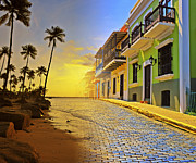 Tropical Sunset Digital Art Prints - Puerto Rico Collage 2 Print by Stephen Anderson