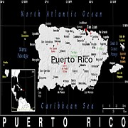 Puerto Rico Mixed Media Framed Prints - Puerto Rico exotic Map Framed Print by Florene Welebny