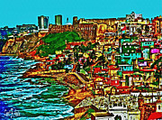 Historic Fortress Digital Art Prints - Puerto Rico Old San Juan Walled City Print by Carol F Austin