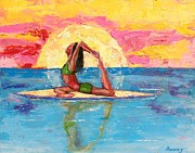Woman Doing Yoga Paintings - Puerto Rico Yoga by Valerie Twomey
