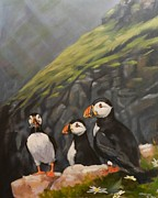 Puffin Paintings - Puffins by Robert Teeling