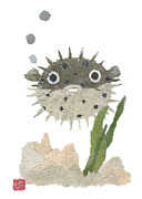 Puffer Fish Paintings - Puffy Fish Puffed Up by Keiko Suzuki