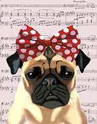 Canine Prints Digital Art Prints - Pug Bow in Hair Print by Kelly McLaughlan