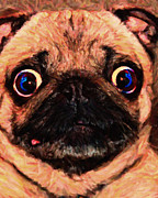 Warm Digital Art - Pug Dog - Painterly by Wingsdomain Art and Photography